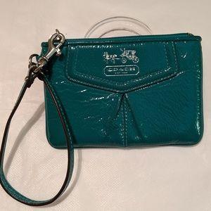 COACH Iconic Wristlet Emerald EUC